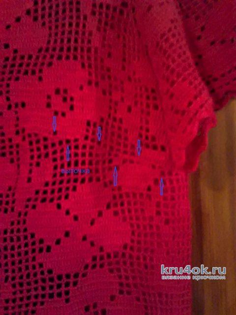 Платье Малина (филейная сетка крючком). Работа Ирины Светличной вязание и схемы вязания