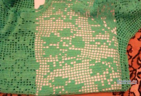 Туника Бирюзовая в филейной технике. Работа Ирины Светличной вязание и схемы вязания