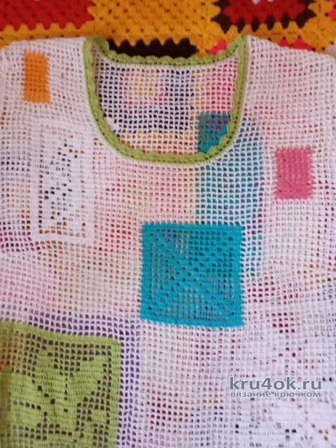 Туника пэчворк Летний калейдоскоп (филейное вязание). Работа Ирины Светличной вязание и схемы вязания