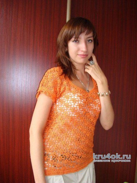 Яркий оранжевый топ, связанный крючком. Работа Светланы вязание и схемы вязания