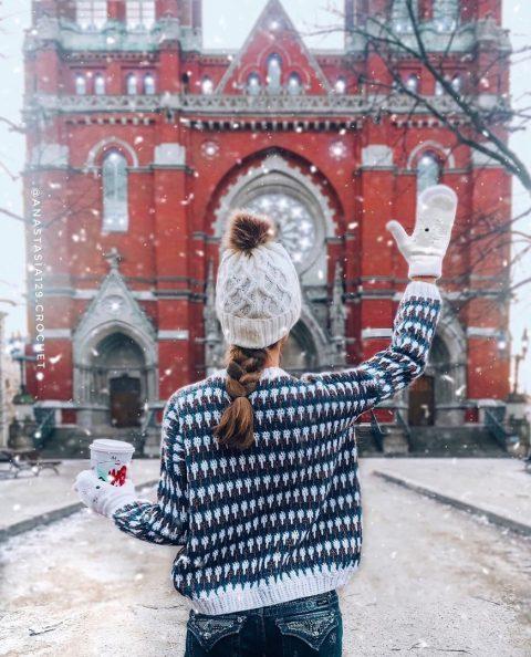 Теплый свитер крючком для женщин