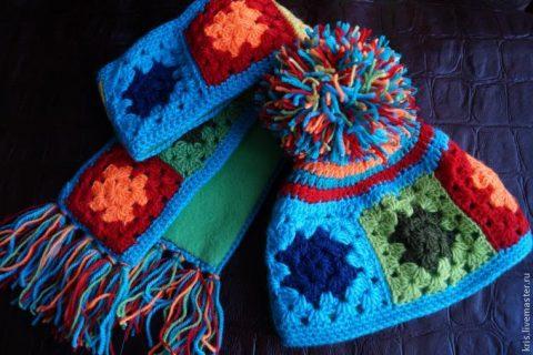Шапка и шарф крючком из бабушкиного квадрата