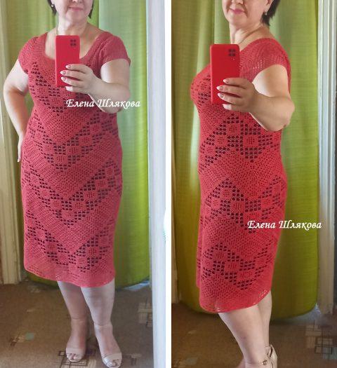 Платье крючком Коралл в технике филейного кружева. Работа Елены Шляковой