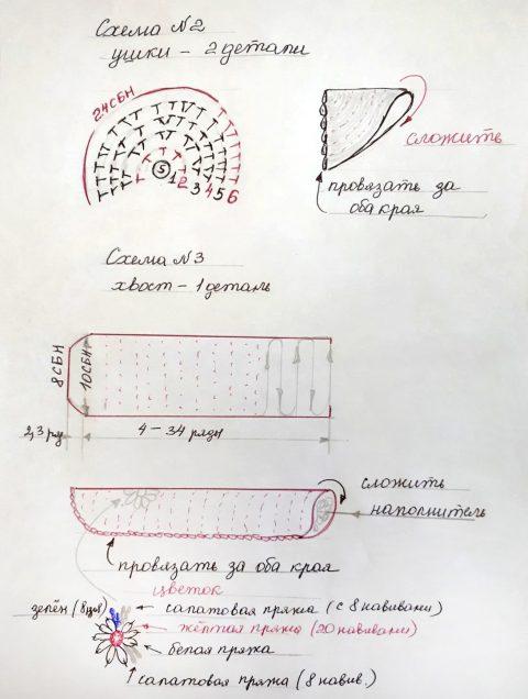 схема вязания котика крючком