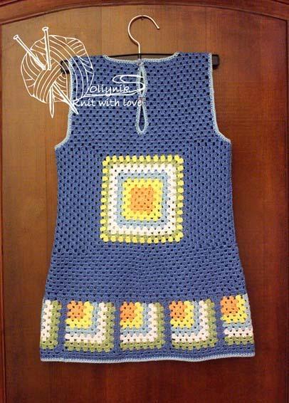 Платье - сарафан для девочки Бабушкин квадрат, мастер-класс!