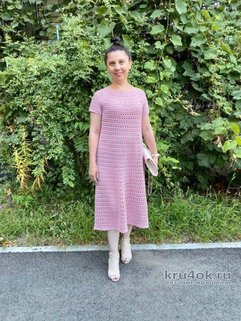 Ажурное платье крючком Чайная роза. Работа Анаит