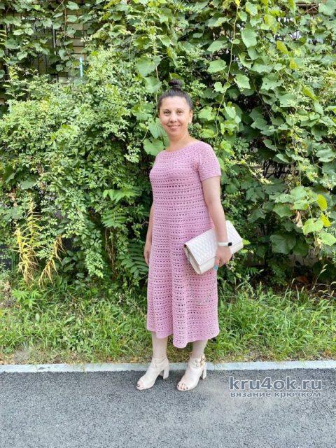 Ажурное платье крючком Чайная роза. Работа Анаит вязание и схемы вязания