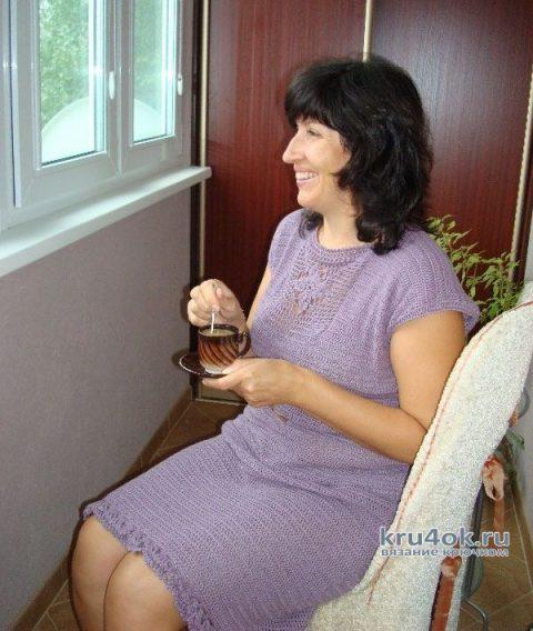 Элегантное летнее платье Пурпурные сумерки, связанное крючком. Работа Светланы