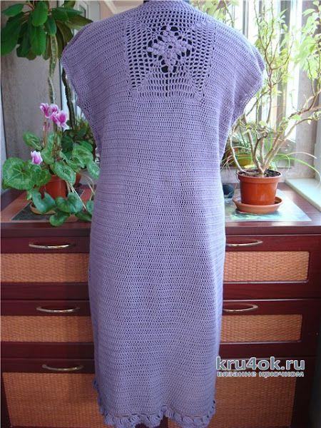 Элегантное летнее платье Пурпурные сумерки, связанное крючком. Работа Светланы вязание и схемы вязания