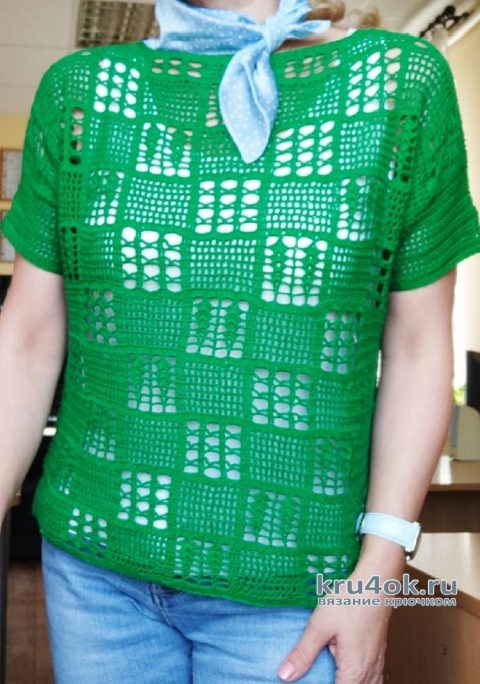 Филейный топ крючком. Работа Елены Шевчук вязание и схемы вязания