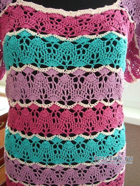 Карамель. Туника из шёлка, связанная крючком. Работа Светланы вязание и схемы вязания