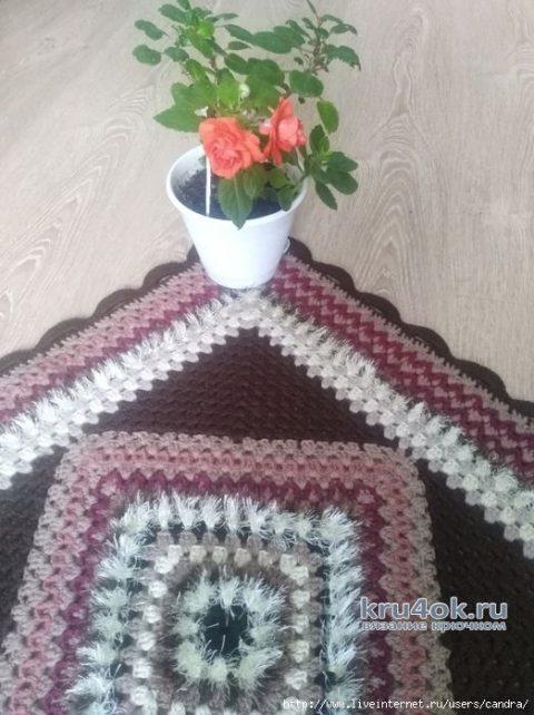 Коврик для дома крючком БАБУШКИН КВАДРАТ. Работа Катерины вязание и схемы вязания