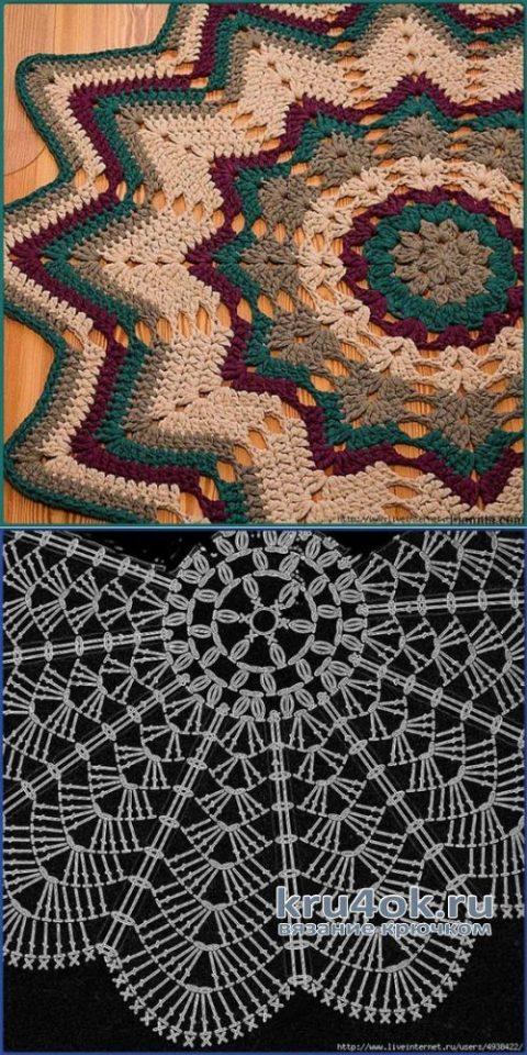 Коврик крючком ЗОЛОТАЯ ОСЕНЬ. Работа Катерины вязание и схемы вязания