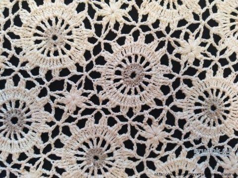 Салфетка из льна крючком. Работа Катерины вязание и схемы вязания