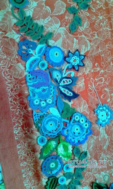 Вязанное крючком пальто из мотивов вязание и схемы вязания