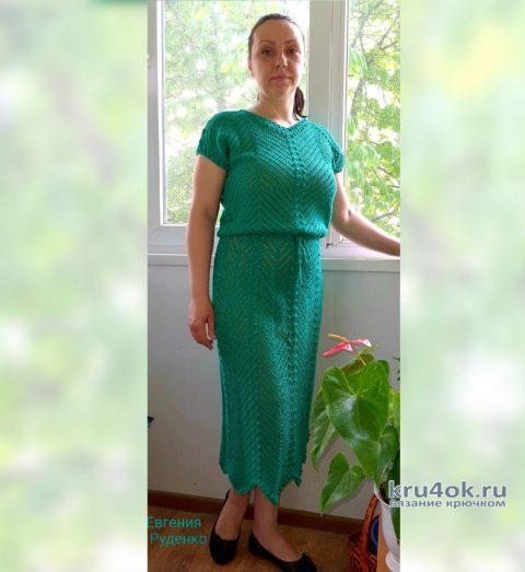 Женское платье крючком Изумруд. Работа Евгении Руденко вязание и схемы вязания