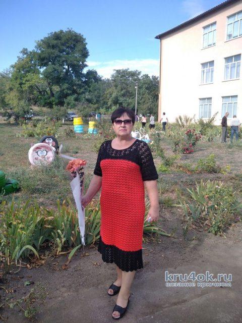 Женское платье крючком. Работа Валентины вязание и схемы вязания