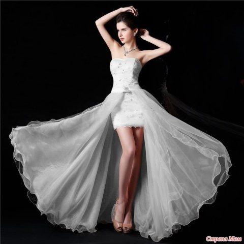 Маленькое белое платье крючком в технике ленточное кружево 11