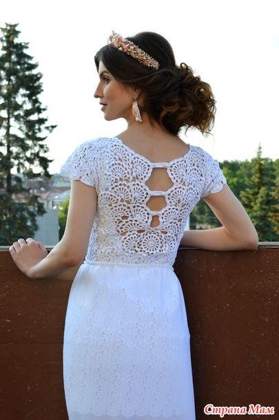 Маленькое белое платье крючком в технике ленточное кружево 6
