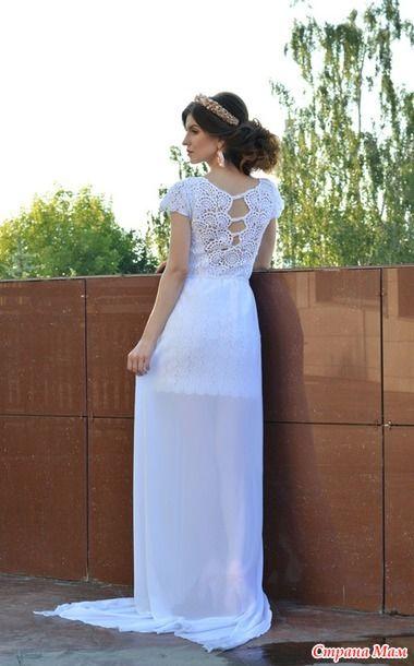 Маленькое белое платье крючком в технике ленточное кружево 7