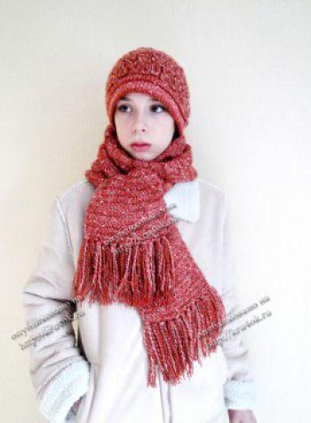 Вязаный комплект «Шарм»-шапка и шарф. Вязание крючком.