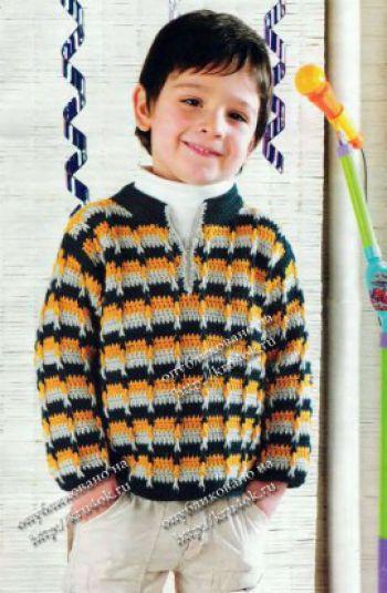 Полосатый свитер для мальчика. Вязание крючком.