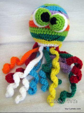 Радужный Медузик, мастер-класс и схемы вязания игрушки