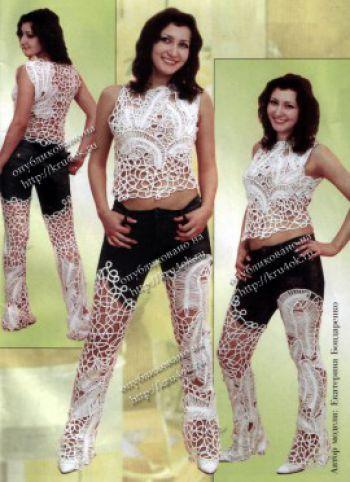 Комплект с комбинированными брюками
