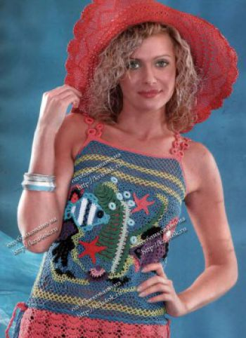 Пляжный сарафан для женщин крючком