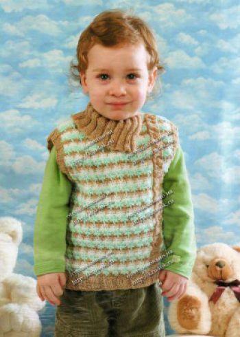Жаккардовый жилет для мальчика. Вязание крючком.