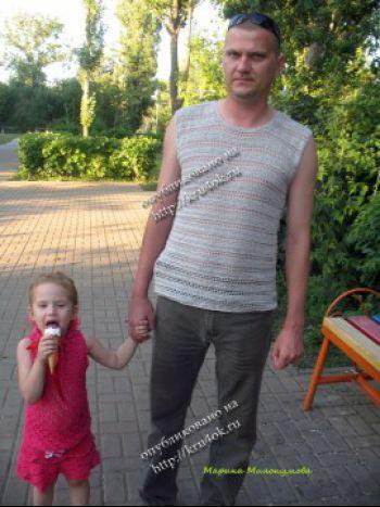 Мужская майка, связанная крючком. Вязание крючком.