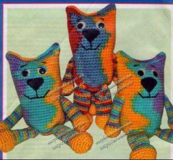 Радужные коты, как связать крючком