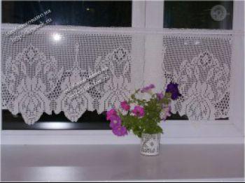 Вязаная занавеска на кухню со схемой вязания