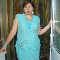 Голубой костюм, связанный крючком