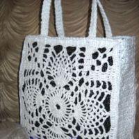 Вязаная сумка из полиэтилена «Белый ананас»