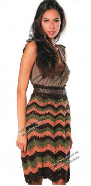 Теплая вязаная юбка с узором зигзаг