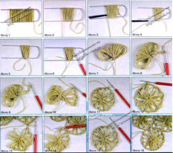 Вязание круглого элемента на вилке. Вязание крючком.
