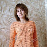 Блуза оранжевая с ананасами «Тропикана»