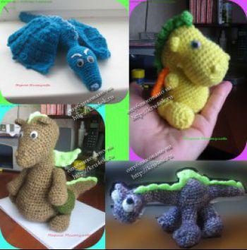 Вязаные игрушки драконы.