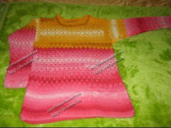 Кофточка для девочки 8-9 лет. Вязание крючком.