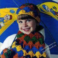 Детский комплект: шапка, шарф и варежки