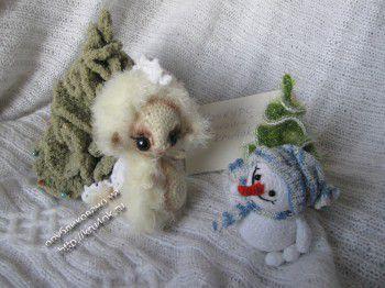 Дракоша Сплюшка и снеговик Снежик. Вязание крючком.