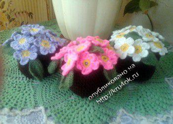 Вязаные цветы примулы в горшочках. Вязание крючком.