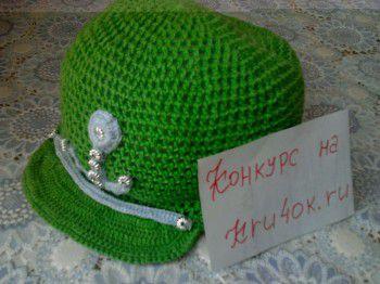 Зеленая кепка для мальчика - работа Ирины