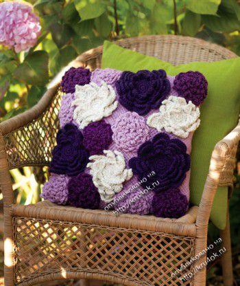 Цветочный чехол для подушки. Вязание крючком.
