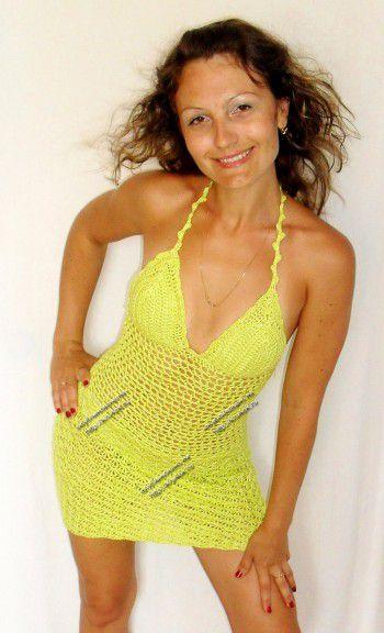 Зеленый сарафан крючком для женщин - работа Натальи Липейко