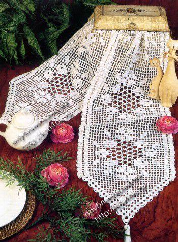 Вязаная салфетка - дорожка, филейное вязание