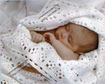 Вязаное крючком покрывало для новорожденных