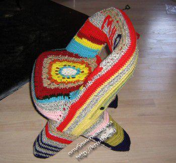 Вязаный чехол для детского стула. Вязание крючком.