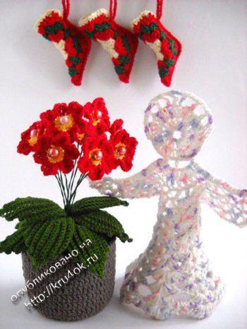 Новогодний натюрморт: цветы и ангел. Вязание крючком.